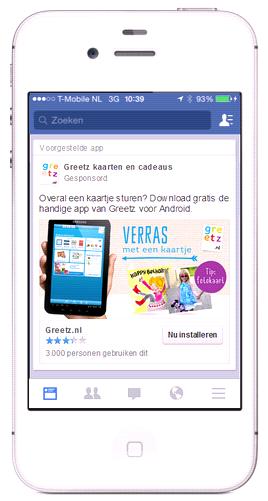 De App promotie op Facebook van Greetz