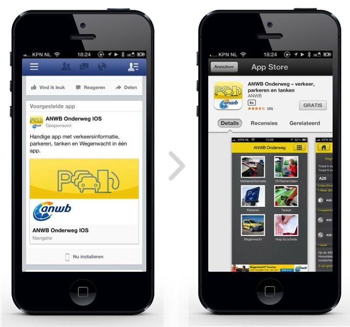 Facebook Mobile App Installs - voorbeeld ANWB