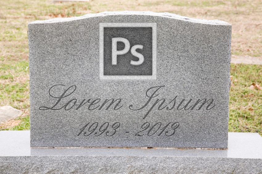 Dood aan Photoshop en lorem ipsum