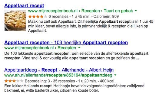 Appeltaart zoekresultaat Google