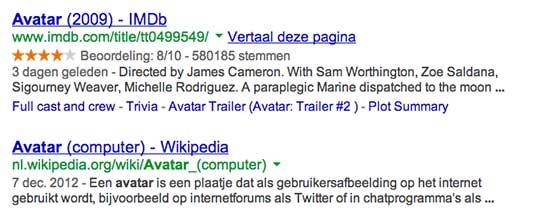 Avatar zoekresultaat Google