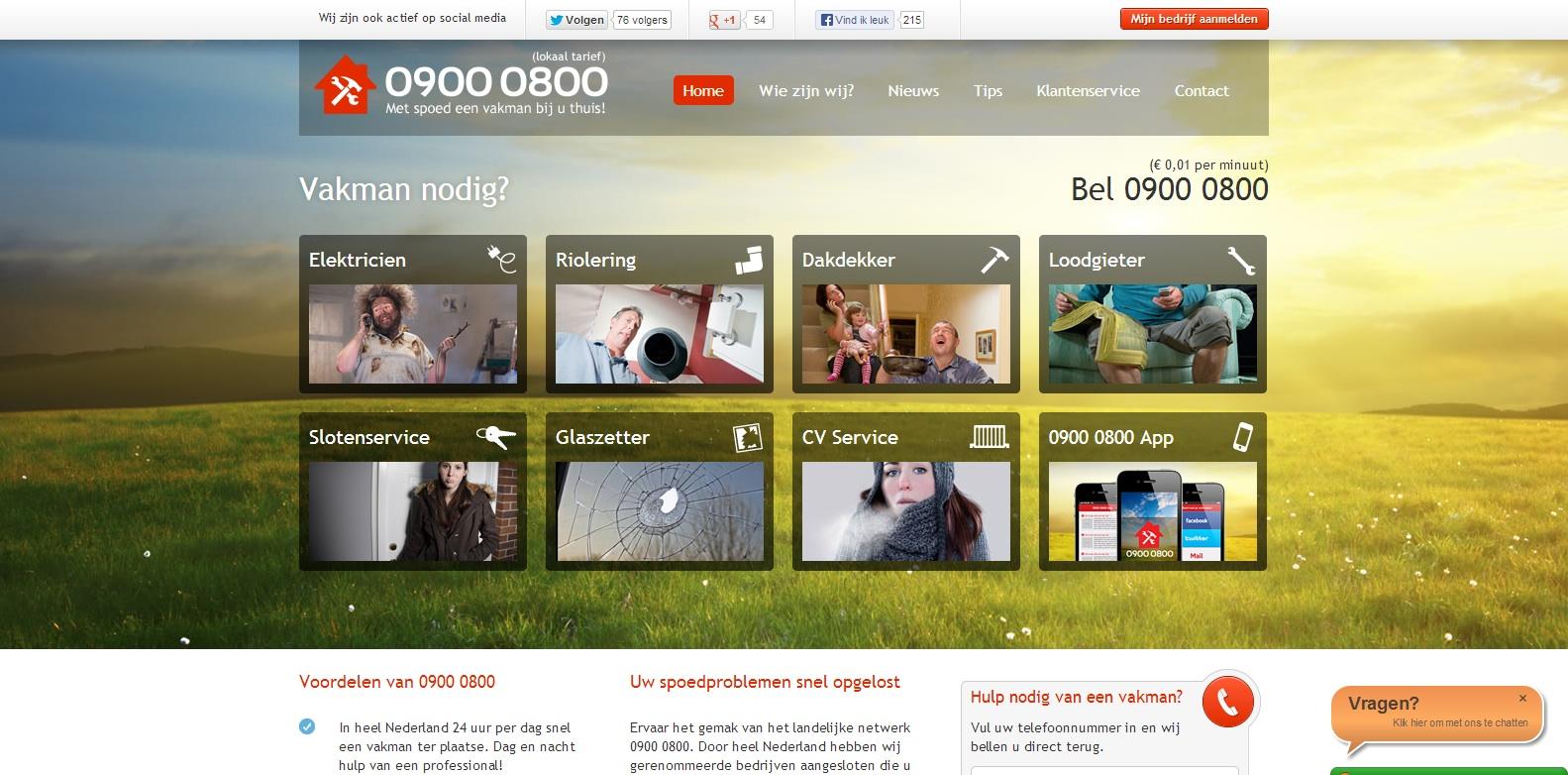 Waar is de online verkoper bij 09000800 - livechat
