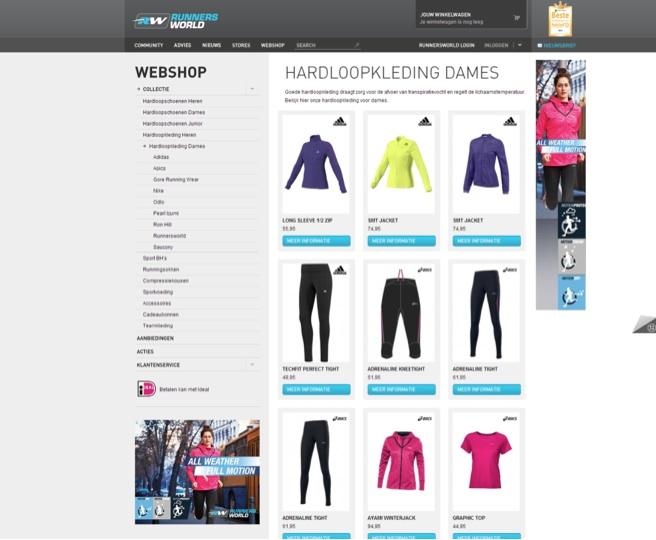 Waar is de online verkoper bij Runners World