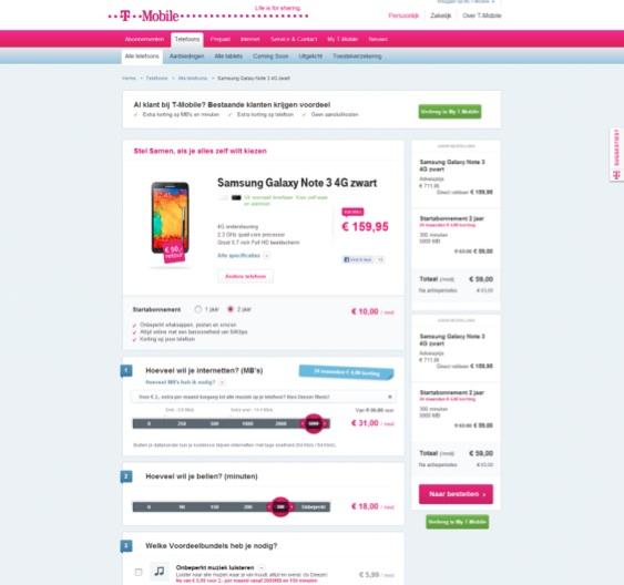 Waar is de online verkoper bij Tmobile - wizard