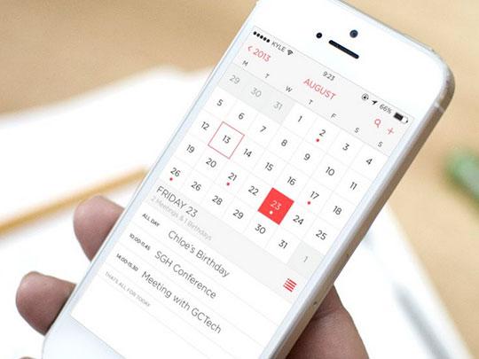 calendar app user interface
