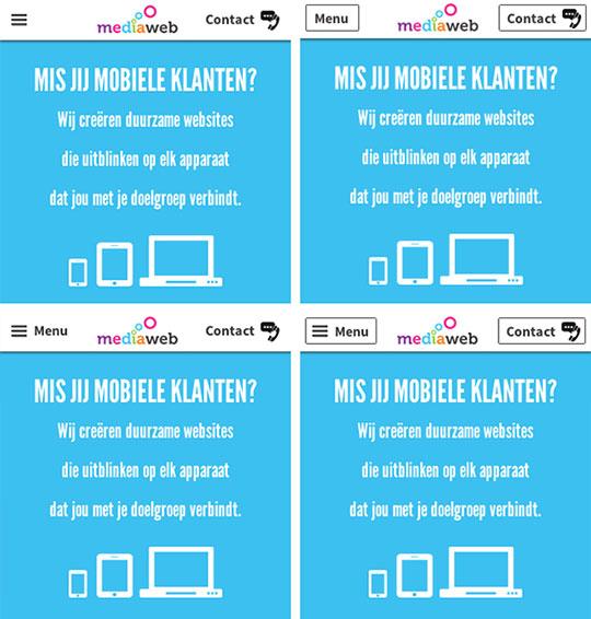 mediaweb verschillende menu opties