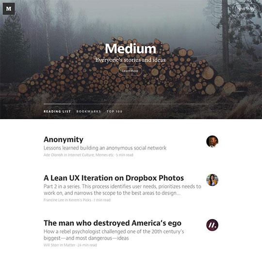 Minimalistisch ontwerp van Medium
