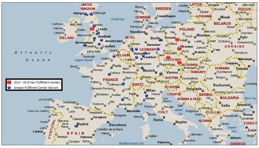Amazon distributiecentra Europa 2014