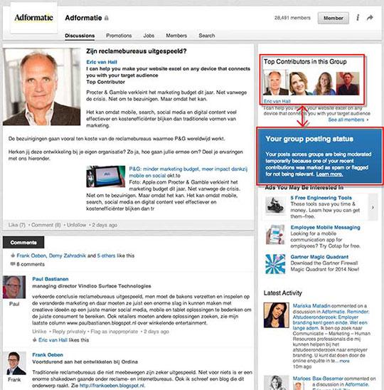 Screenshot Linkedin groep Adformatie: Eric van Hall zowel top contributor als onder moderatie gesteld.