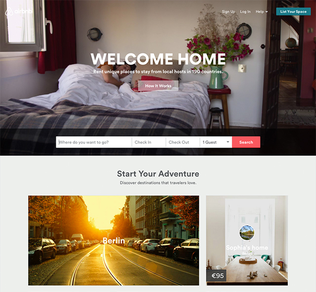 Airbnb screenshot homepage