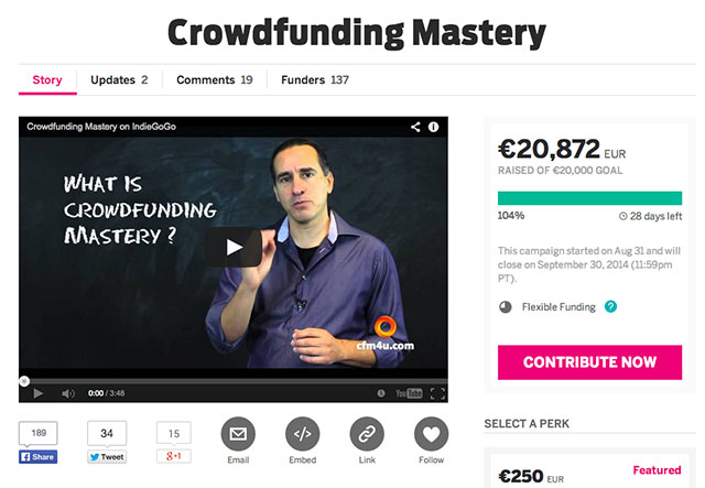 Campagne Crowdfunding Mastery op Indiegogo screenshot