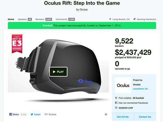 Oculus Rift Kickstarter pagina screenshot
