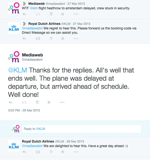 Screenshot tweets KLM - Mediaweb