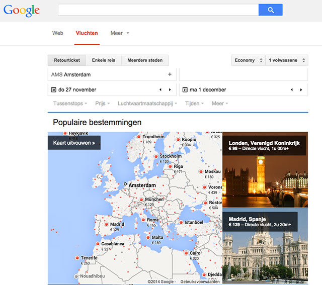 screenshot Google Flights