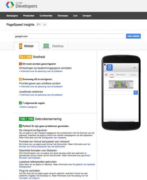 Google PageSpeed google.com