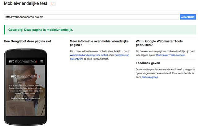 Voorbeeld mobielvriendelijk test Google