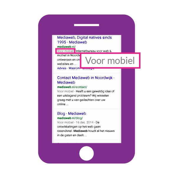 'Voor mobiel' label Google