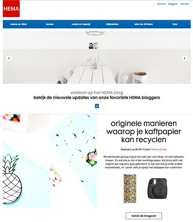 screenshot HEMA blog