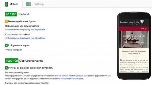 Google PageSpeed test banktencate.nl