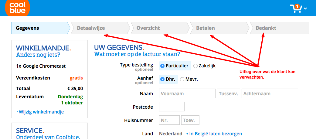 Screenshot shoppingcart Coolblue met stappen