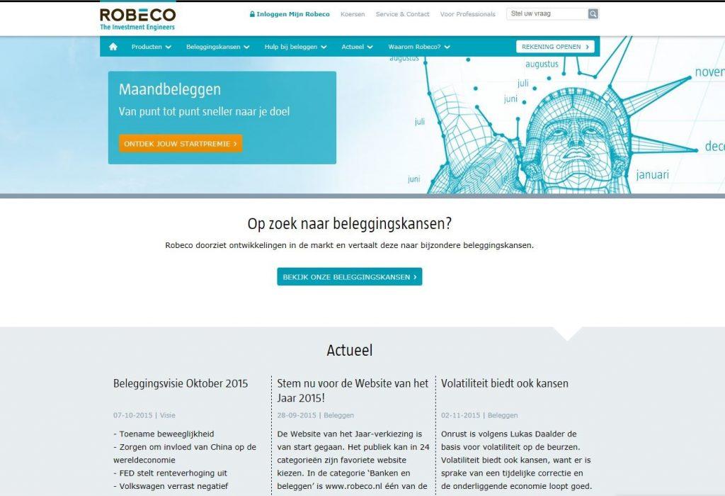 Robco - Homepage voor de fondsklant
