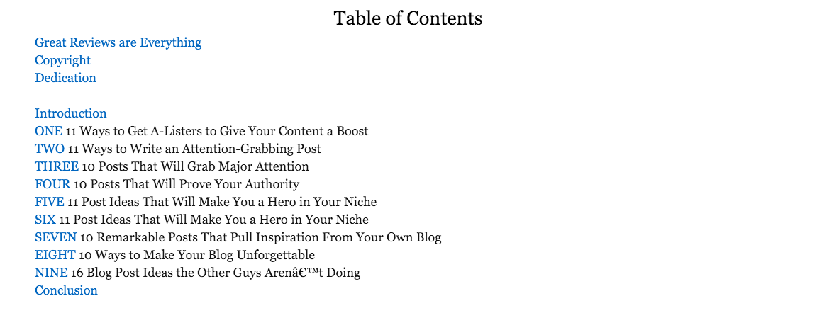 Inhoudsopgave e-book