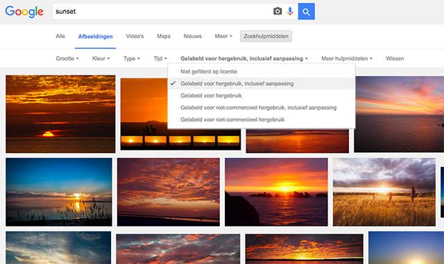 google-search-gelabeld-hergebruik-inclusief-aanpassing-sunset