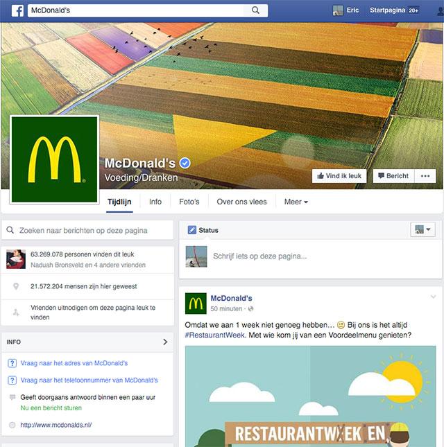 McDonald's Facebook pagina