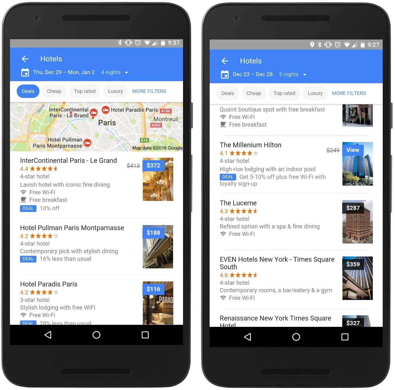 Google Flight hotels
