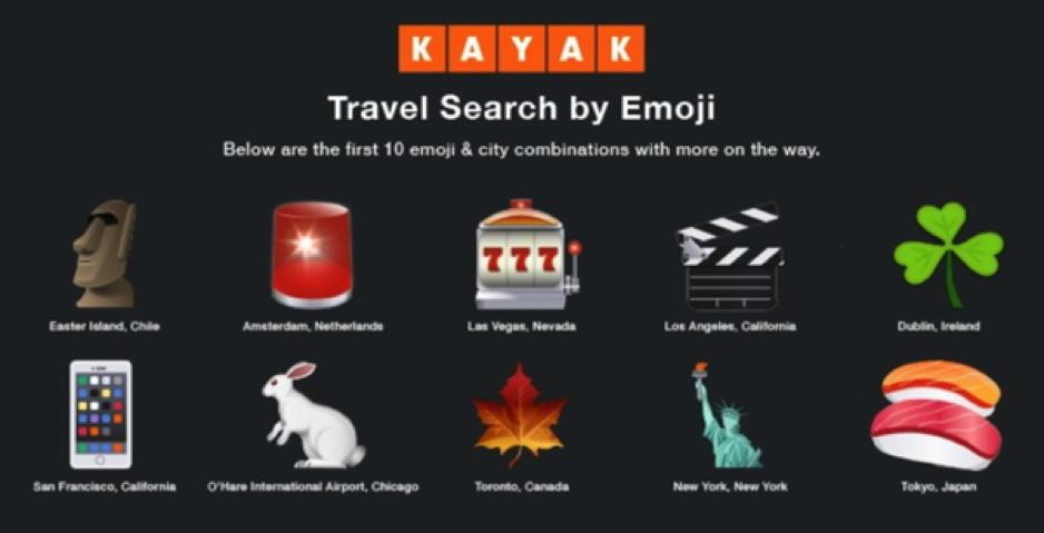 Kayak emoji travel search