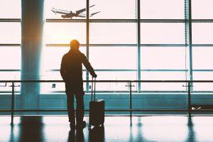Passagier, vliegtuig vertrekt