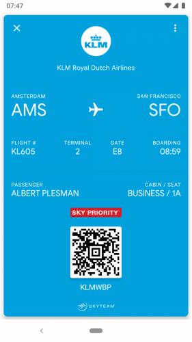 Google Pay, KLM