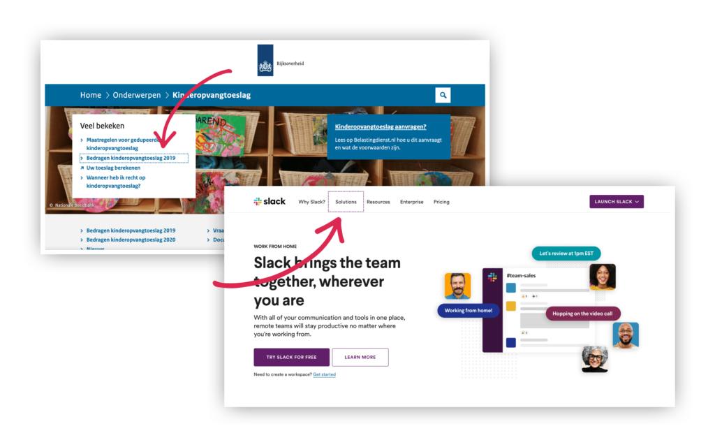 Twee voorbeelden van websites met goede focus states.