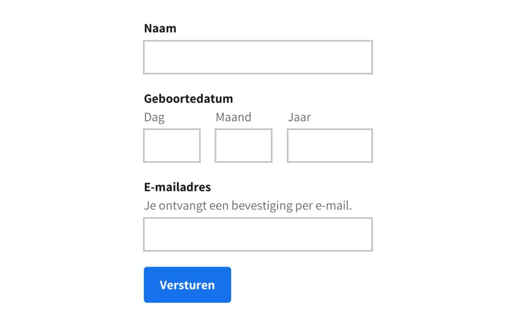 Een voorbeeld van een toegankelijk formulier.