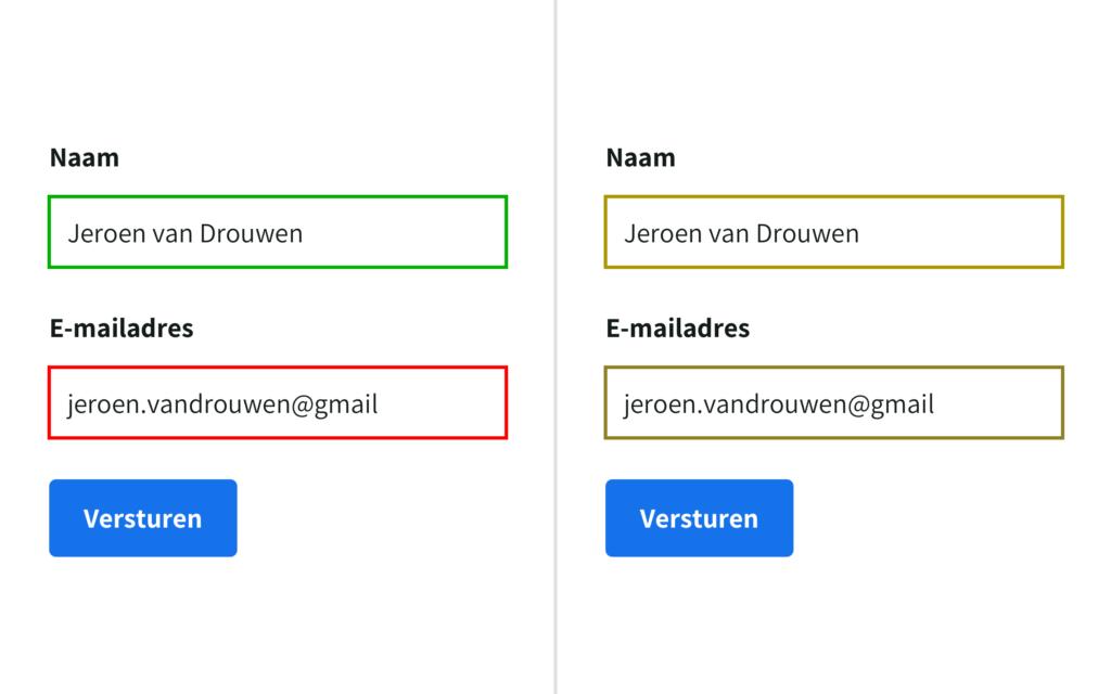Een formulier met twee invulvelden en een button. De ene heeft een groene rand en de andere een rode rand. Daarnaast staat eenzelfde formulier die laat zien hoe iemand die kleurenblind is het waarneemt.